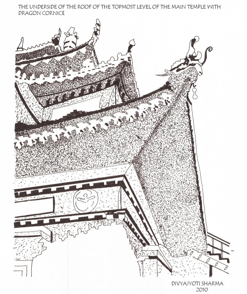 The dragon cornice of the main temple